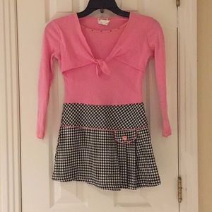 Pink dress with checkered bottom